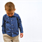 boys shirt - navy polka dot long sleeve shirt