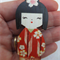 Red Japanese Doll Brooch