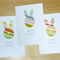 Set of 3 Happy Easter Cards - modern bunny with cute glitter nose