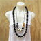Black Shimmer Oh Mama Silicone Teething Necklace