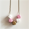 Pink, White & Gold Wooden Geometric Necklace