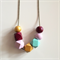 Gold, Magenta, Lilac & Mint Wooden Geometric Necklace