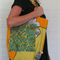 'Citrus Clash' Ladies zip up bag made from vintage fabric.