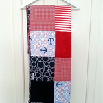 """""""Red&Navy anchor nautical""""  Cot Blanket"""