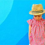 girls blouse - red gingham smock top