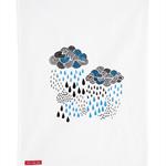 Rain Clouds Kitchen Tea Towel – storm clouds, rain, screenprint, dish cloth