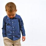 boys shirt - navy polka dot long sleeve shirt