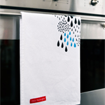Rainy Day Screen Printed Kitchen Tea Towel