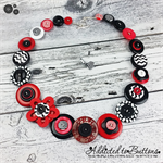 Classic Black Red White - Button Necklace - Button Earrings - Set - Jewellery