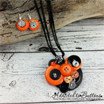 Cluster Button Pendant orange black - Weaved Wired - Long- earrings - necklace