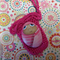 Hand painted rock baby with crochet bag- pink stripe