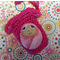 Hand painted rock baby and crochet bag- pink spot