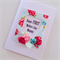 Happy first Mother's Day Mummy roses frame in red & aqua with butterfly card