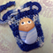 Hand painted rock baby with crochet bag- blue
