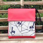 Satchel - Red - Wren Deep Blue on Oatmeal - Free Shipping