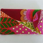 Soft Sunglasses Case with velcro closure in multi-coloured designer fabric