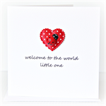 Baby Boy or Girl card ladybug and satin heart newborn neutral