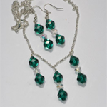 Swarovski Emerald and Crystal AB necklace and earrings