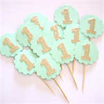 1st Birthday Cupcake Toppers - Mint and gold glitter Set of 12