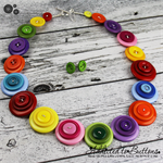 Rainbow Connection - Button Necklace - Button Earrings - Set - Jewellery
