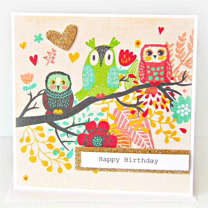 Happy Birthday Owl Card Gold Glitter Heart For Her The Little Card