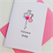 Newborn baby girl congratulations hand stamped pink resin flower stork card