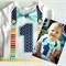 First Birthday Stars and Stripes Colourful Bow Tie Boys Onesie Bodysuit
