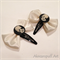 Steampunk Gear Bow Clips - White & Skull Cab