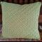 Green Crocheted cushion. 100% wool. 35cm x 35cm