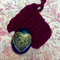 Rock heart and crochet bag- black and gold