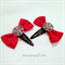 Steampunk Gear Bow Clips - Red