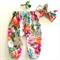 Designer Floral Harem Pants & turban knot bow headband - baby, girl