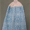 Crochet hanging tea towel 100% cotton Aqua colour with cream crochet top