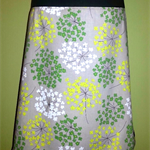Linen Skirt with Green & Yellow Flowers & Bamboo Stretch Band