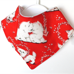 Retro kitten baby bandana bib vintage red unisex cat dribble bibs girls babies