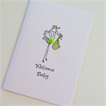 Newborn baby boy girl hand stamped mint green stork with baby bundle sweet card