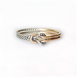 Double love knot ring, celtic knot ring, two toned ring