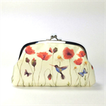 Double coin purse / Poppy Field / two compartments purse/ floral