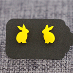 Sunshine Yellow Rabbits~Laser Cut Acrylic Stud Earrings