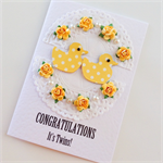 Congratulations it's Twins yellow polka dot ducklings paper roses baby card