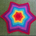 Rainbow star crochet blanket 95cm diameter
