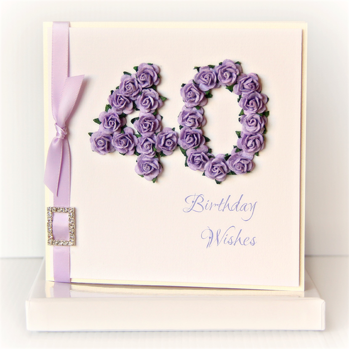 40th Birthday Card Keepsake Gift Boxed Paper Roses Mauve