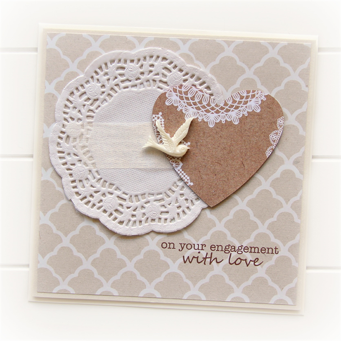 Engagement Card Bird And Paper Heart Rustic Kraft Doily Heart