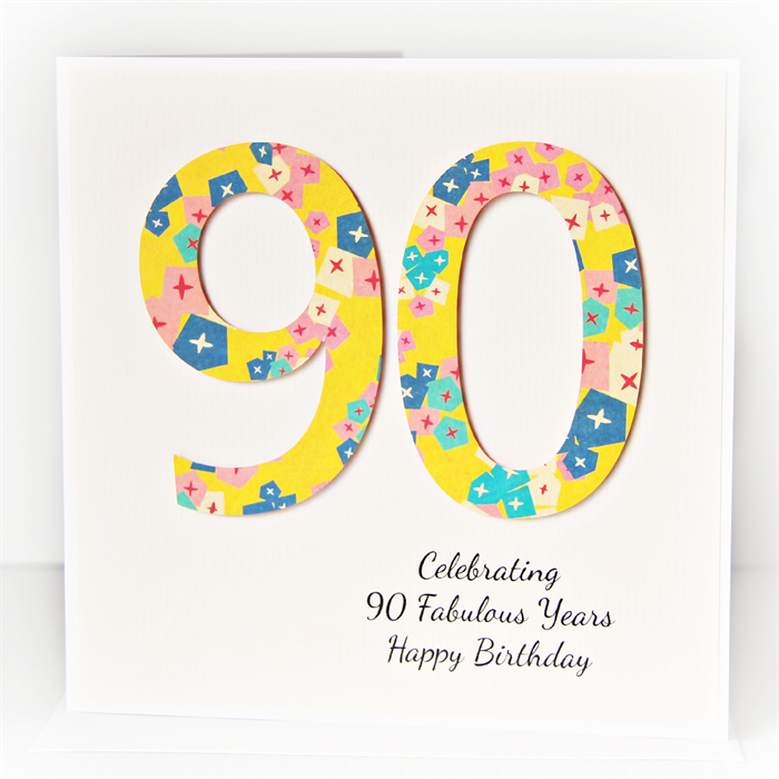 90th Personalised Birthday Card Geometric Flowers In Yellow Turquoise Pink Navy