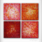 'Abstract no.14' - 40x40cm - 4 panels - MADE2ORDER. Red, orange, pink