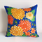 Cushion cover of Dahlias mustard, lime, citrine, orange and yellow florals