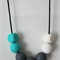 SiliBead Teething Necklace - Turquoise, White and Grey Small
