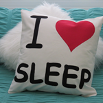 """I Love Sleep"" Cushion Cover"