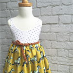 White & Mustard Dress with Belt