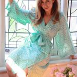 Ivy & Matilda Acacia kimono robe in Pirouettes on Water fabric~ Knee length